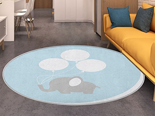 Elephant Nursery Round Area Rug Little Baby Elephant with Big Balloons Happiness Funny Icon Living Dinning Room & Bedroom Rugs Mauve Pale Blue White