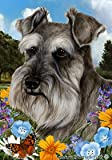 Cheap Schnauzer Grey Uncropped – Best of Breed Summer Flowers Large Flags