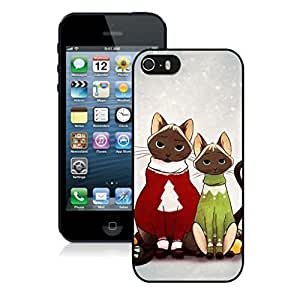 2014 Newest Lovely Red And Green Decorated Christmas Cats Black Phone Case For Iphone 5s,Iphone 5 TPU Case,Apple Iphone 5s