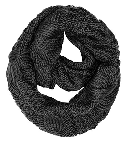Peach Couture Cable Knit Chuny Winter Warm Infinity Loop Scarves Black ()