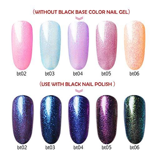 5 Color Glitter Gel Nail Polish+ 1 Black Gel, Saviland 2 Effects Soak off UV LED Nail Varnish Nail Art Manicure Set(10ml)