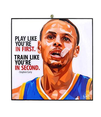 Pop Art Famous Basketball Player Inspiration Quotes [ Stephen Curry ] Framed Acrylic Canvas Poster Prints Artwork Modern Wall Decor, 10