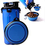 ELE-Jiaruila {2 in 1 } Travel Pets Water and Food Bottle with Bowl, Water Dispenser Portable Mug for Dogs,Cats and Other Small Animals (Blue)