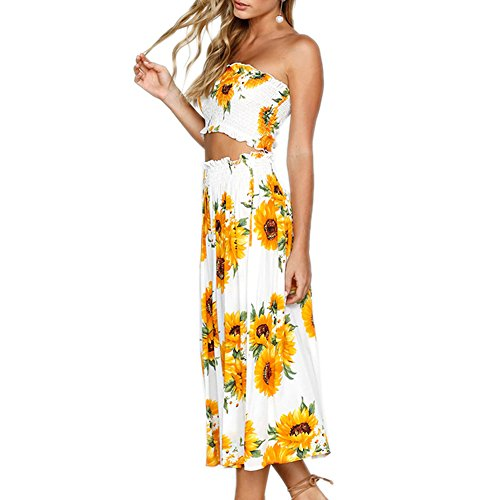 YISHIWEI Women's Sunflower Floral Crop Top Maxi Skirt Set 2 Piece Outfit Dress (Yellow, x-Large)