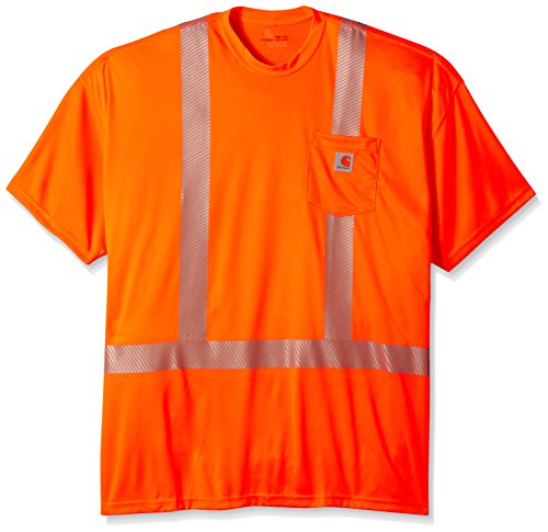 Carhartt Men's Big-Tall Force High Visibility Short Sleeve Class 2 T-Shirt, Brite Orange, X-Large
