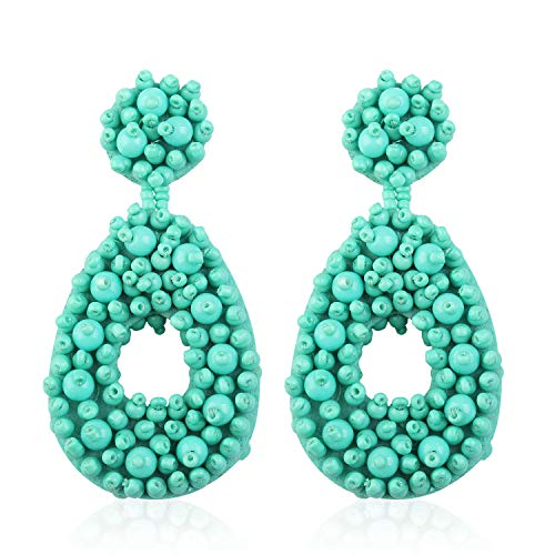 - Statement Beaded Hoop Earrings for Women Girls Handmade Bohemian Round Dangling Lightweight Fashion Club Studs Ear Jewelry Accessory Gift for Ladies Auntie with Gushion Present Box GUE127 Mint Green