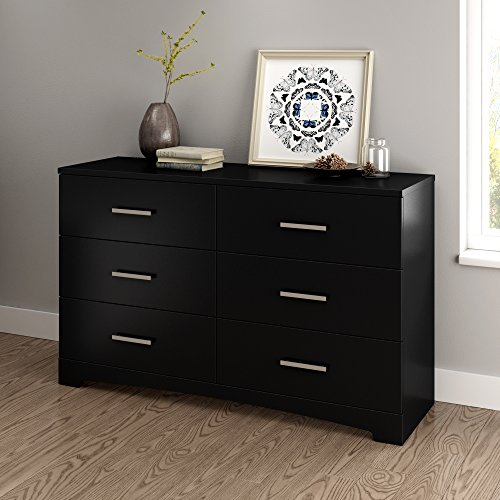 South Shore Gramercy 6-Drawer Double Dresser, Pure Black with Brushed Nickel Handles -