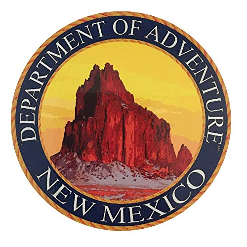 - New Mexico Sticker, Department of Adventure State Seal NM - Ship Rock Monument Valley - Vinyl Decal Label for Water Bottle Laptop Luggage Bike Laptop Tacklebox 5 Gal Bucket Bumper Helmet Waterproof