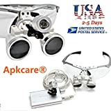 Apkcare® Portable Ultra Light Weight Dental Glasses Binocular Loupes Magnifier Zoom 3.5x420 + LED Head Light Lamp for Dental Surgical Medical Binocular Loupes (Silver)