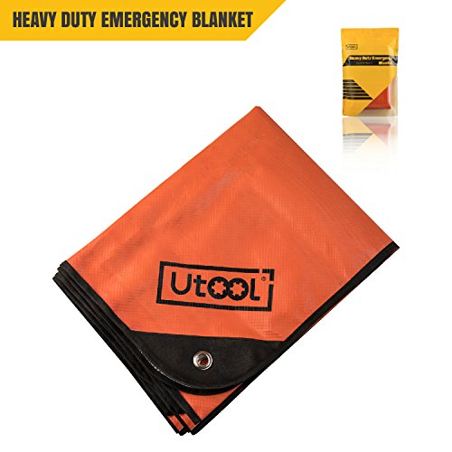 UTOOL Heavy Duty Emergency Blanket Tarp, Extra Large Thermal Reflective Survival Outdoor Emergency Blanket with Water Proof, 93% Heat Retention, Tear Resistant, Reusable Features