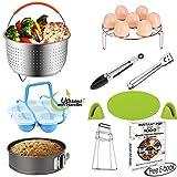 Large Steamer Basket Set for 6,8 Quart (Qt) Instant Pot Accessories Pressure Cooker, Egg Rack, Springform Pan, Egg Bites Mold, Oven Mitts, Food Tong, Bowl Clip, Free Recipes eBook, 10 PCS