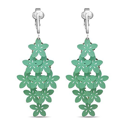 (Beautiful Dangle Clip On Earrings for Women, Bohemian Drop Butterfly, Dragonfly, Leaves, Flowers (Green Flowers))