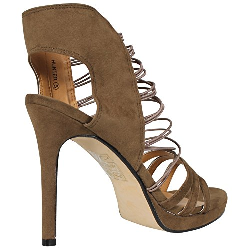 CORE COLLECTION New Womens Ladies Elasticated Strappy Peeptoe HIGH Stiletto Heel Sandals Shoes S Khaki Suede fuUC2ksBUb