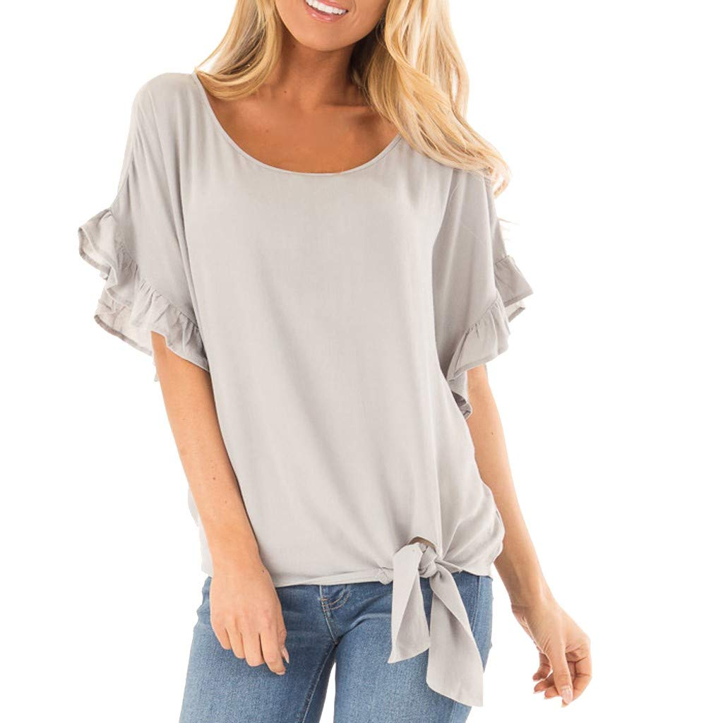 Hot! Womens Blouses Deals Ladies Flounce Sleeve O-Neck Lace up Casual T-Shirt Top Gray