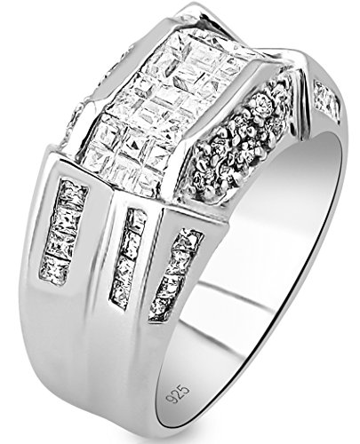 Men's Sterling Silver .925 Designer Ring Band Featuring 52 Round and Baguette Invisible and Channel Set Cubic Zirconia (CZ) Stones (Silver Large Crystal Ring)
