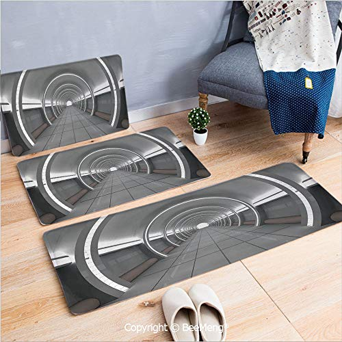 - 3 Piece Anti-Skid mat for Bathroom Rug Dining Room Home Bedroom,Outer Space Decor,Galactic Place with Oval Shaped Ceiling Force Alien Life Apollo Comics Graphic,Gray,16x24/18x53/20x59 inch
