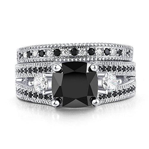 2.5ct Square Princess Black Cubic Zirconia Black Ring Set Wedding band Jewelry 18KGP (8)