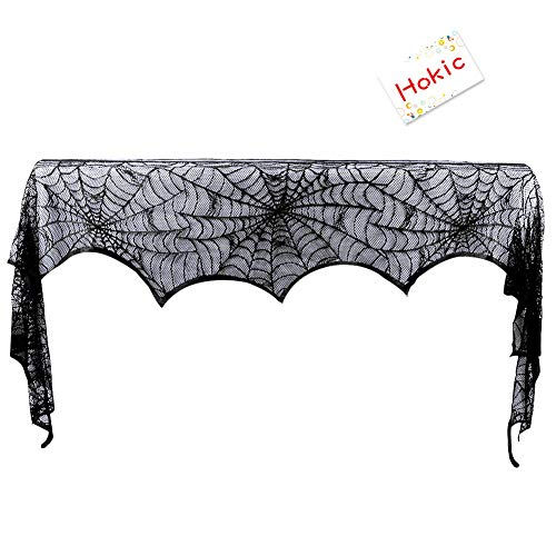 Hokic Halloween Decoration Halloween Black Lace SpiderWeb Fireplace Mantle Scarf Cover For Halloween Party Supplies 18 x 96 Inch]()