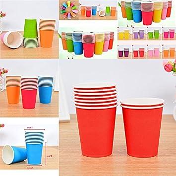 Pink 10 x Dylandy Pappbecher Einweg-Papierbecher f/ür Hei/ßkaffee Tee Trinkbecher Farbe Pappbecher f/ür DIY Party 250 ml 250 ml Orange