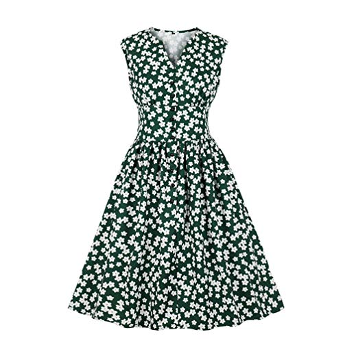 Nicetage Women's Split Neck Floral Button 1940s Day 1950s Vintage Tea Dress HS270-1756 Dark Green XL