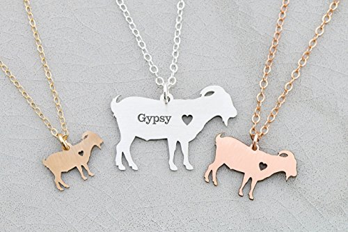 Goat Necklace – Billy Pygmy – IBD – Personalize with Name or Date – Choose Chain Length – Pendant Size Options – 935 Sterling Silver 14K Rose Gold Fil…
