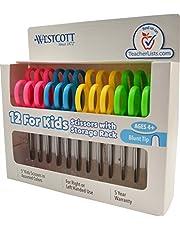 Westcott Right- & Left-Handed Scissors For Kids, 5'' Blunt Safety Scissors, Assorted, 12 Pack (13140)