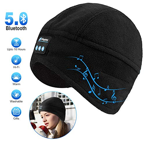 Bluetooth Beanie Hat, Winter Mens Womens Gifts Bluetooth Hat V5.0 Hand Free Wireless Headphone Beanie with Bluetooth Speakers Compatible with iPhone Samsung Android Cell Phones