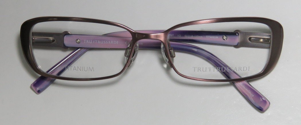 Trussardi 12507 Womens/Ladies Prescription Ready Avant-garde Design Designer Full-rim Titanium Flexible Hinges Eyeglasses/Eye Glasses (53-16-135, Mauve / Violet) by Trussardi (Image #3)