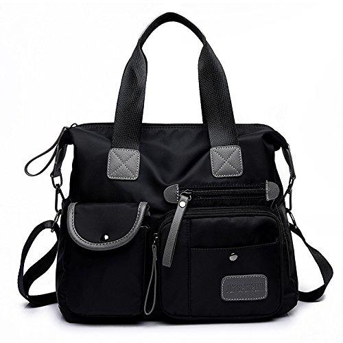 Lady bags Bolsa de Lona para Mujer, Bandolera, Versión Coreana de Nailon, Bolsa de Tela Oxford, Bolso Bandolera de Gran Capacidad, 34 x 30 x 13 cm, Negro negro