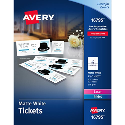"Avery Matte White Printable Tickets with Tear-Away Stubs, 1-3/4"" x 5-1/2"", Pack of 500 (16795)"