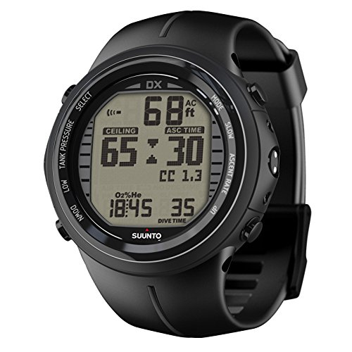 Suunto DX Dive Computer Wrist Watch with USB PC Download Kit (Black Elastomer Strap)