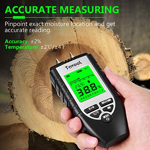 Wood Moisture Meter – Digital Moisture Detector Moisture Tester, Pin-Type Water Leak Detector Damp Tester Dampness Meter for Wood Building Material Firewood Walls Paper Floor Black