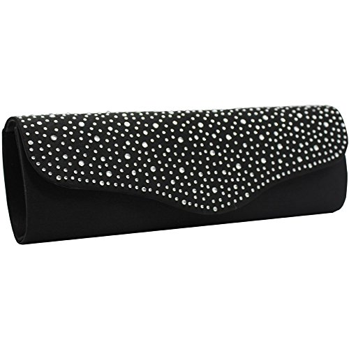 Women Bag Black Bag Prom Clutch Black Party Evening Satin Wiwsi Bridal diamante Slim Handbag dSw7nz