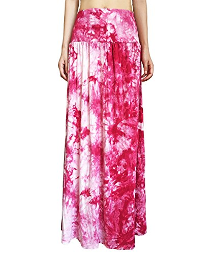 Yige Women's Tie Dye Fold Over Maxi Skirt – High Waist  Long Skirt