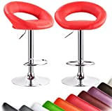 Cheap WOLTU ABSX1004red-a Set of 2 Barstools Leather Hydraulic Lift Adjustable Counter Bar Stool Dining kitchen Chair Red swivel