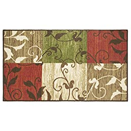 Modern Living Leaf Vine Squares Decorative Area Accent Rug, 26 by 45-Inch