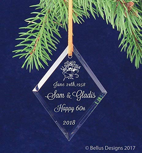 - 60th Diamond Wedding Bells Anniversary Christmas Keepsake Ornament Personalized with Names and date