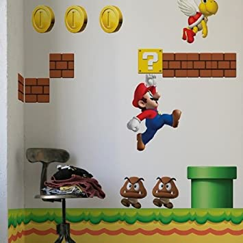 Superior New Super Mario Brothers Wall Stickers Nice Look