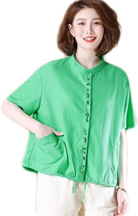DAFREW Camisa de Color sólido con Cuello Alto, Camisa de Manga Corta, Vestido de Verano, para