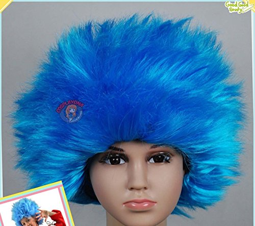 BLISS PRO's Thing 1 Thing 2 ADULT SIZED Dr. Suess Suss Sues Wig Aqua STRAIGHT Wig (Thing 1 And 2 Costumes)