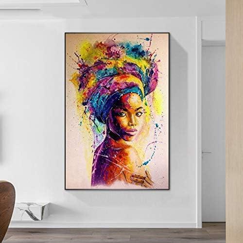 WAGUZA Pintura de Lienzo de Arte de Graffiti de Mujer Africana en Carteles de Pared e Impresiones Cuadro de Arte de Pared Abstracto de Chica Negra para Sala de Estar