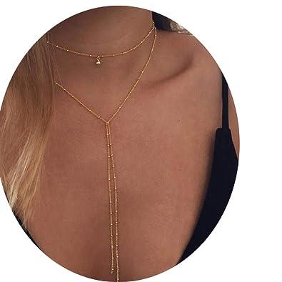 d83b3774334 Amazon.com  CARMELA HILL WILLIAMS Long moon Tassel Pendant Chain Necklaces    Pendants Laces velvet chokers Fashion Jewelry  Jewelry