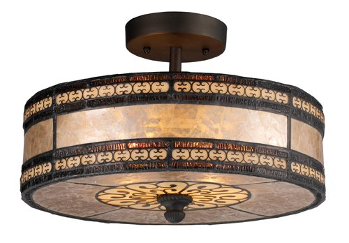 Elk 70065-2 Mica Filigree 2-Light Semi-Flush Mount, 9-Inch, Tiffany Bronze (Circular Filigree)