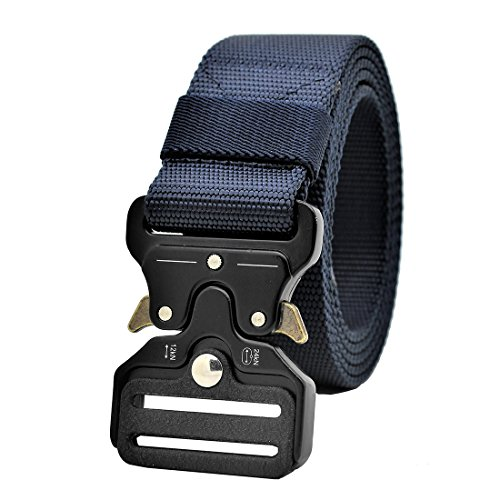 GRULLIN Tactical MOLLE Nylon Belt,Military Style Riggers Web Waist Belt with Heavy Duty Quick Release Metal Buckle for Men (Bdu Pants Adult)