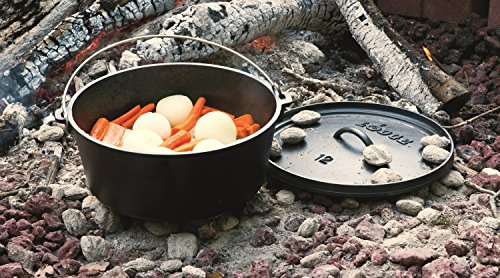 Lodge l12dco3 deep camp dutch oven 8 quart for Dutch oven camping recipes for two
