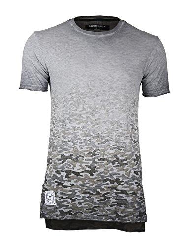ZIMEGO Men's Short Sleeve Camouflage Longline Side Slit Oil Wash T-Shirts (Small, DS56-Slate-FBMerchant) ()