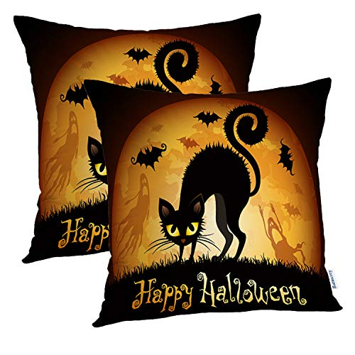 (Batmerry Halloween Pillow Covers 18x18 inch Set of 2,Halloween Black Cat Moon Check Portfolio Ghost Scary Treat Trick Throw Pillows Covers Sofa Cushion Cover)
