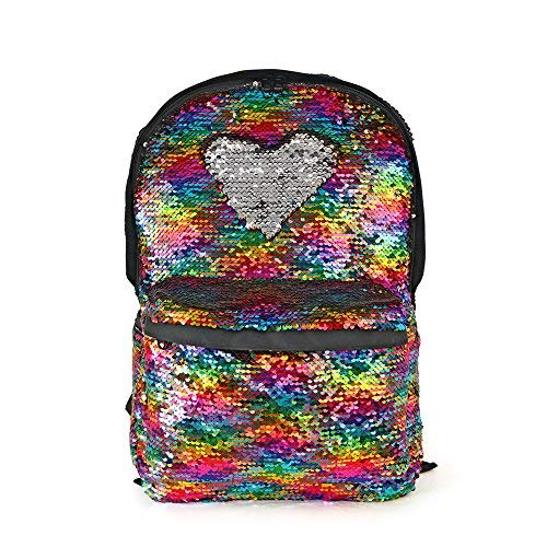Magic Reversible Sequin School Backpack,Sparkly Lightweight Back Pack for Girls and Boys,17