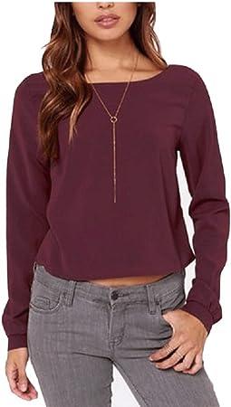 Blusas de Mujer Gasa sin Respaldo Camisas de Manga Larga Cuello Redondo Tops de Verano Tops Camiseta (Color : Vino Rojo, tamaño : S): Amazon.es: Hogar