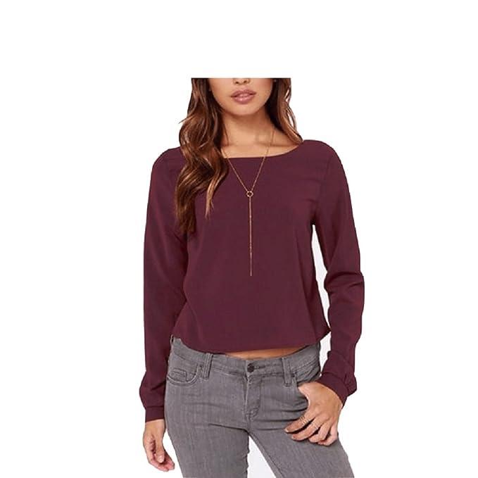 Oudan Blusas de Mujer Gasa sin Respaldo Camisas de Manga Larga Cuello Redondo Tops de Verano Tops Camiseta: Amazon.es: Ropa y accesorios